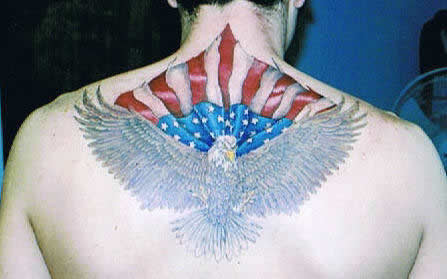 American Flag  Eagle Tattoos on Eagle   American Flag Across Back   Lions Lair Tattoo  Llc     A